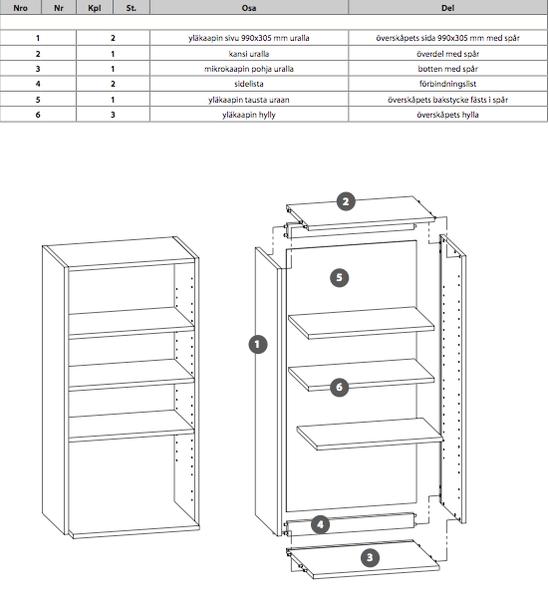 Mikrokaappi korkea 990 (yläkaappi) 1