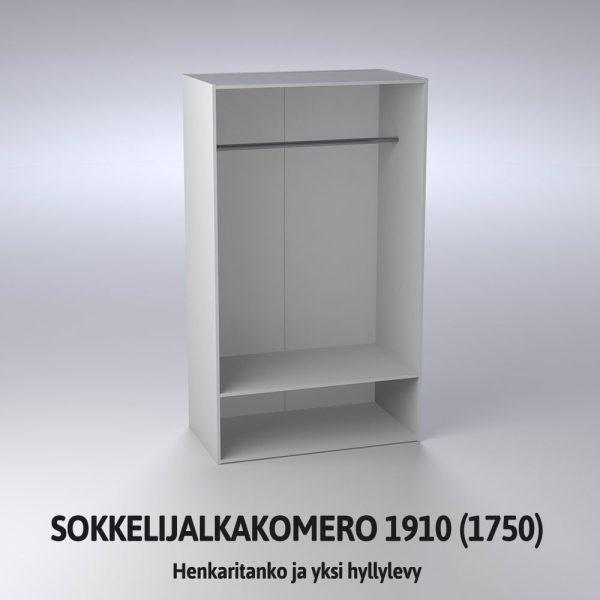 Sokkelijalkakomero 1910 henkaritanko ja hyllylevy
