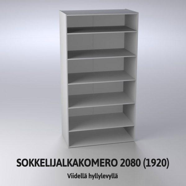 Sokkelijalkakomero 2080 (1920) hyllylevyillä