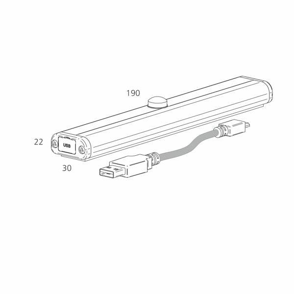 USB Ledvalaisin Regleta mitat