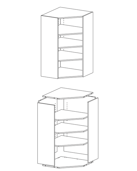Yläkulmakaappi korkea 990 (yläkaappi) 1